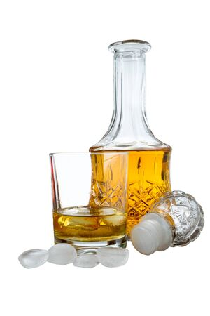 glass of irish whiskey in the foreground isolated on white background Reklamní fotografie