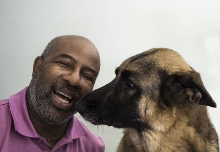 Cute moment between an African American man and his German Shepherd dog who is giving kisses 스톡 콘텐츠