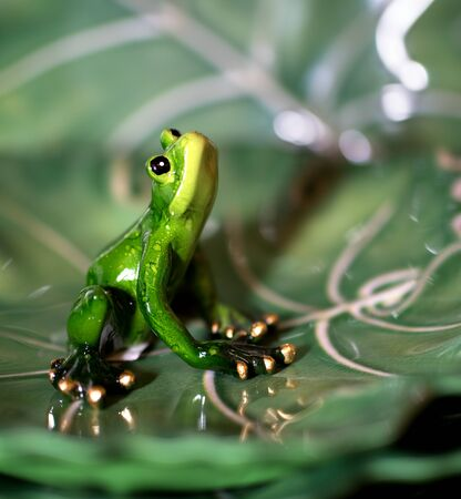 Ceramic green frog figurine with golden toes sitting looking up against green blurry  background