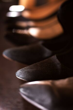 Tips of Women High Heel lack Shoes. Abstract Concept