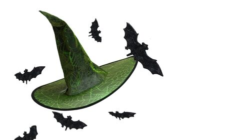 Wizard Witch hat decorated with flying bats and glowing spiderwebs and pointed tip.Halloween isolated