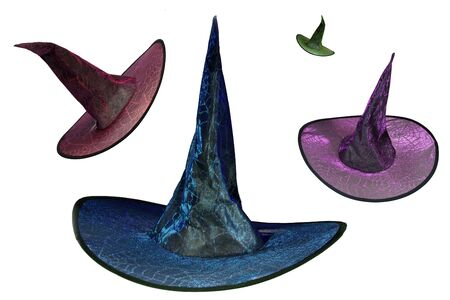 Multiple Wizard Witch hat decorated with glowing spiderwebs and pointed tip.Halloween isolated Banco de Imagens