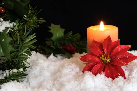 Red Poinsettia flower with lit candle and Mistletoe in snow. Black Christmas Background with holiday theme.