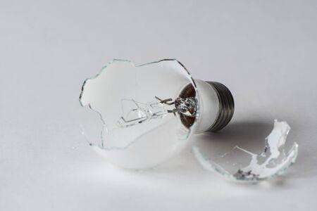 Broken lightbulb isolated on white background Reklamní fotografie