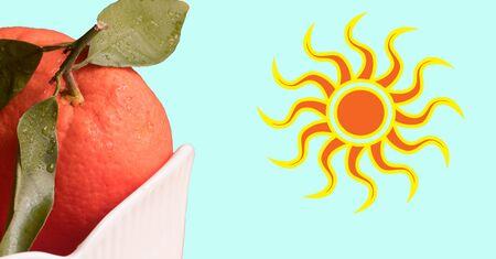 Fresh orange in white bowl and sun. Healthy Citrus fruits on blue background. Composition Reklamní fotografie