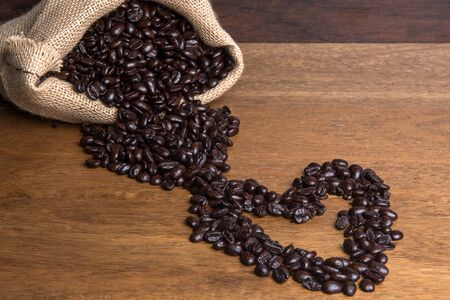 Coffee Beans form heart. Love of coffee. Jute Bag for Coffee