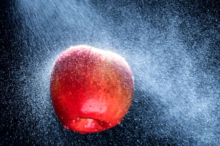 Fresh  Variegated apple  gets sprayed with water on black background. Concept of summer, health and fun Stock Photo