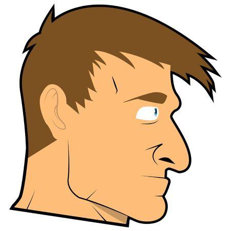 face to face: Man face realistic cartoon