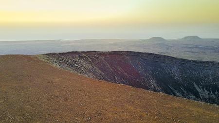 aerial view of volcano, fuerteventura, canary islands Stock Photo