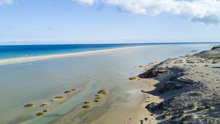 aerial view of deserted beach, warship lagoon, fuerteventura, canary islands