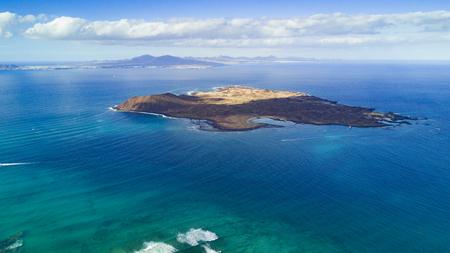 luchtfoto van lobos eiland, fuerteventura, Canarische eilanden Stockfoto