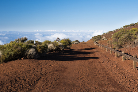 teide tenerife canary islands , mountain path above the clouds