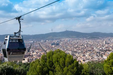 BARCELONA, SPAIN - September 26, 2018: Teleferic de Montjuic in Barcelona, Spain. Teleferic de Montjuic connects Montjuic Castle and Montjuic Funicular Station