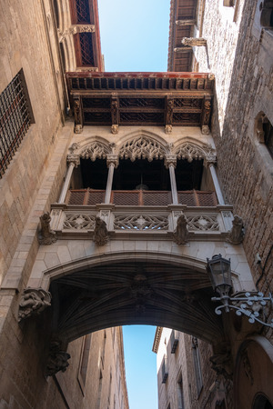 barcelona Spain, ghotic quarter - 2018 September 25: architectural detail of a Gothic style building Editorial