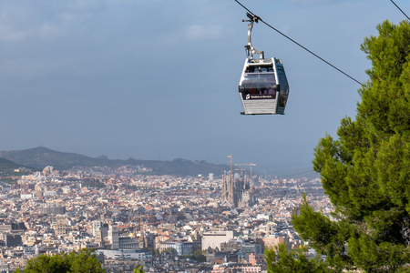 BARCELONA, SPAIN - September 26, 2018: Teleferic de Montjuic in Barcelona, Spain. Teleferic de Montjuic connects Montjuic Castle and Montjuic Funicular Station