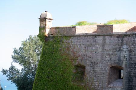 BARCELONA, SPAIN - September 26, 2018: view of the detail of the castle Montjuic in Barcelona, Spain Editorial