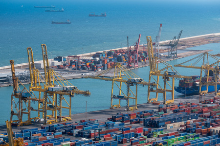 aerial view of containers in the port of Barcelona, spain Editorial