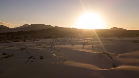 aerial view of dunes at sunset, fuerteventura Stock Photo