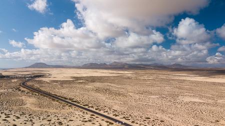 aerial view of road in the desert, fuerteventura