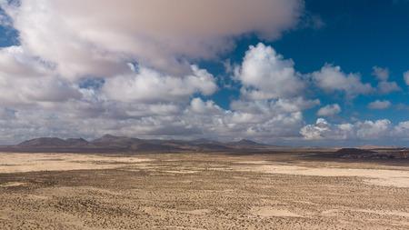 aerial view of desert and volcanic mountains, fuerteventura