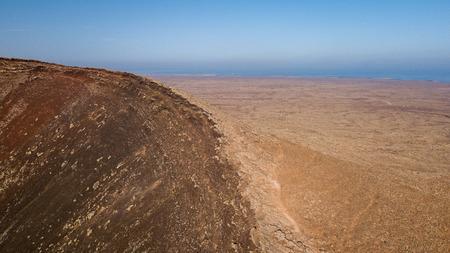 aerial view of volcano crater, fuerteventura