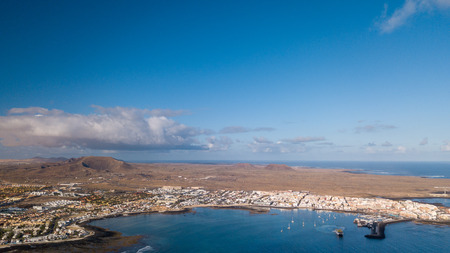 aerial view of Corralejo bay, fuerteventura - canary islands