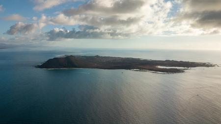 aerial view of the Lobos island, fuerteventura Stock Photo