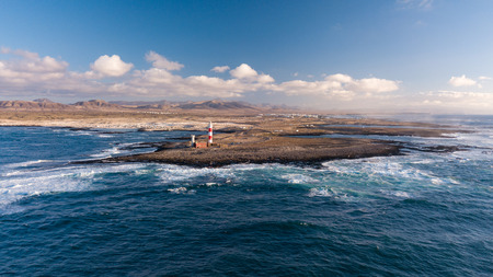 aerial view of lighthouse at sunset, north-west coast of fuerteventura