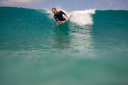 surfer in action on the wave, fuerteventura canary islands Stock Photo