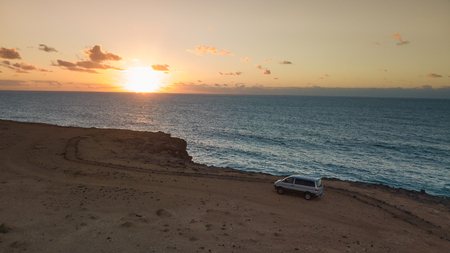 aerial view west coast of Fuerteventura at sunset, canary islands