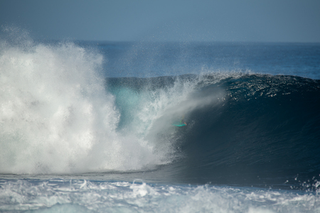 surfer in action on a big wave, lanzarote - canary islands