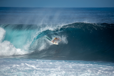 lanzarote - november 29, 2018: surfer in the big wave, competition