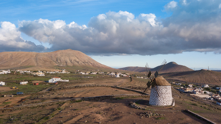 aerial view of windmill, canary islands