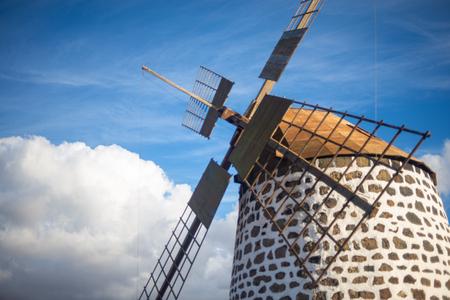 characteristic windmill of fuerteventura, canary islands