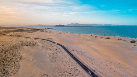 aerial view east coast of fuerteventura , coastal road