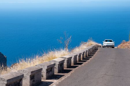 mountain road along the coast of the la palma island