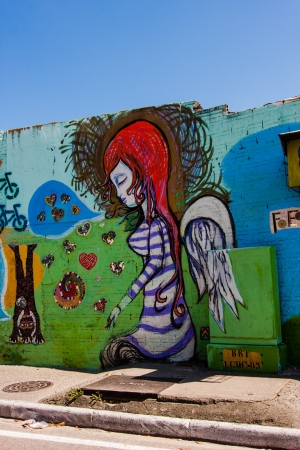 colorful wall of graffiti in Brazil on the island of Florianopolis