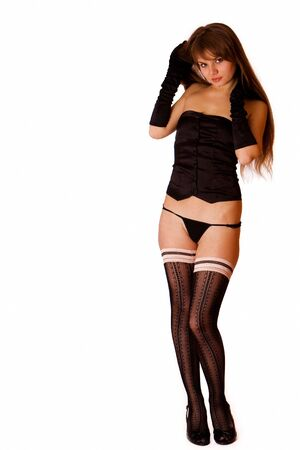 Cute young girl in black underwear photo