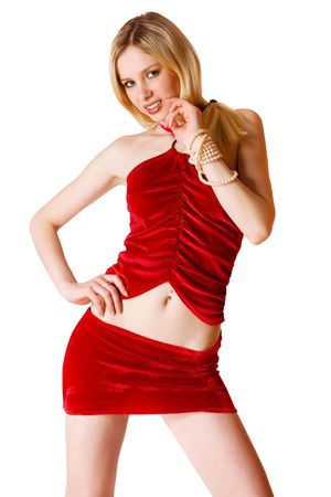 Cute young blond girl in red skirt isolated photo