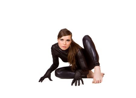 catsuit: Cute young girl in catsuite