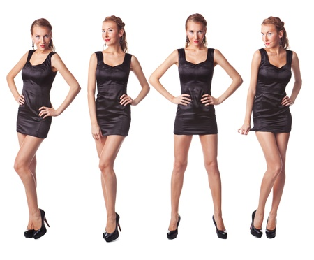 Portrait of four attractive young women in a black dress Full length looking at camera isolated on white background photo
