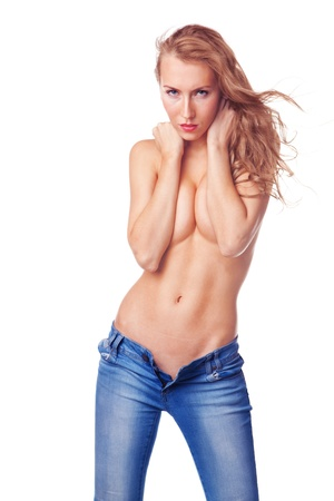 topless jeans: sexy blond woman standing topless in jeans isolated on white background Stock Photo