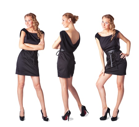 three persons only: Portrait of three attractive young women in a black dress Full length looking at camera isolated on white background