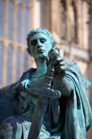 verdigris: A bronze statue of the Roman emperor Constantine outside York Minster in England Editorial