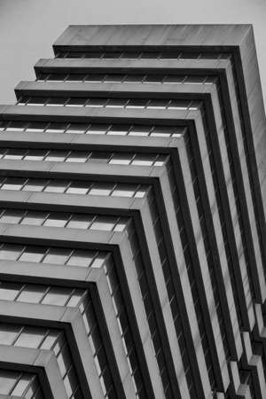 skewed: An office building in the brutalist architecture style