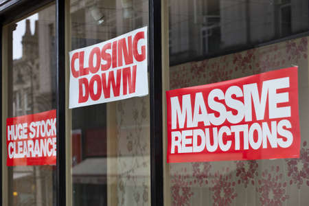 economic recession: Closing Down Signs
