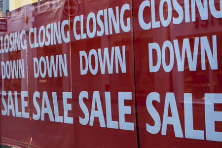 business failure: Closing Down Banners