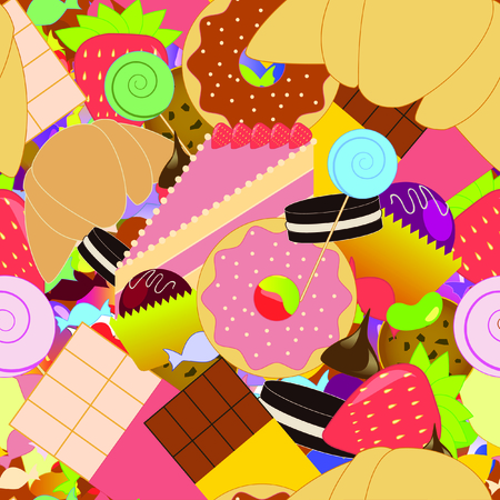 Colorful seamless candy pattern. Vector