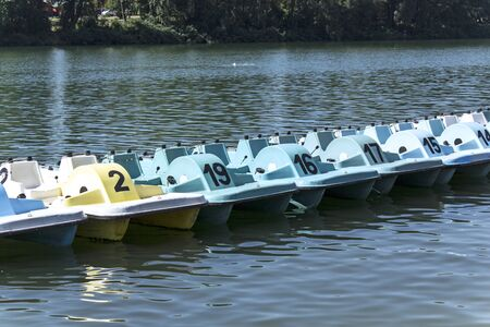 pedal: Pedal boats on the lake.