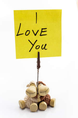 i pad: Message - I love you on sticky note.